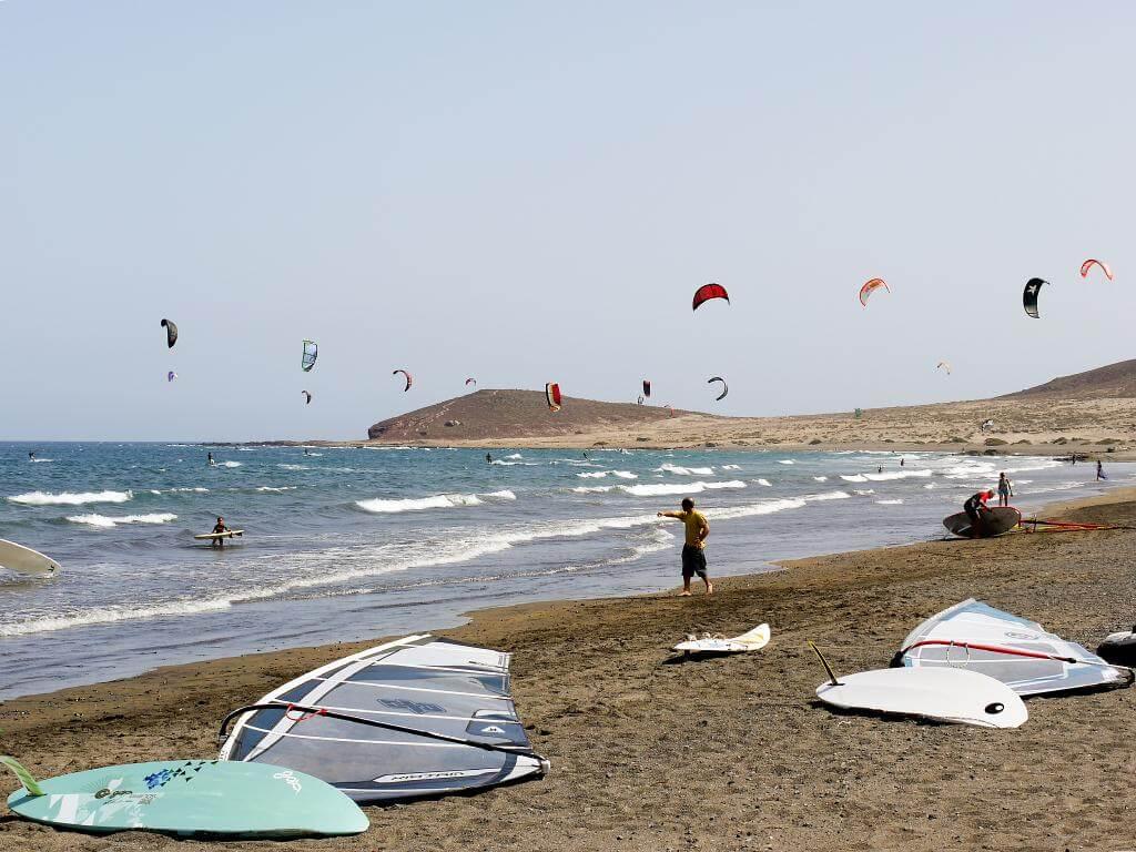Tenerife _P1010462 Tenerife Montana Roja El Medano surfers 040610